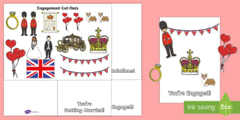 EYFS Royal Engagement Cut and Stick Cards - Royalty, Prince Harry, Meghan, Engaged, Marry