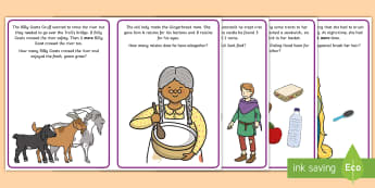 Fairy Tale Number Stories Cards - Mathematics, number, counting, count, addition, record, marks, fairy tales, calculate, EYFS