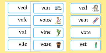 Initial v Sound Word Cards - initial v, v sounds, word cards
