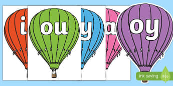 Phase 5 Phonemes on Hot Air Balloons - Phonemes, hot air balloon, phoneme, Phase 5, Phase five, Foundation, Literacy, Letters and Sounds, Alphabet, A-Z letters, Alphabet flashcards, letters and sounds, DfES, display, balloon, balloons, hot air balloo