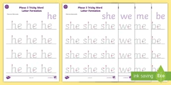 Middle East Phase 3 Tricky Words Letter Formation Activity Sheet Pack - high Frequency words, tracing, Letter formation, handwriting, word recognition, Phonics, UAE