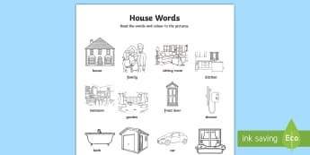 The Home Aistear-Themed Words Activity Sheet - ROI, house,  Playtime, vocabulary, living room, dining room play room, worksheet, Irish