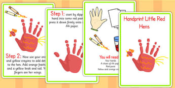 Handprint Little Red Hens Activity - little red hen, story books