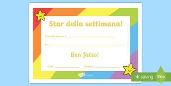 Star della settimana Poster - star, stella, della, settimana, certificato, poster, regalo, italiano, italian, materiale, scolastic