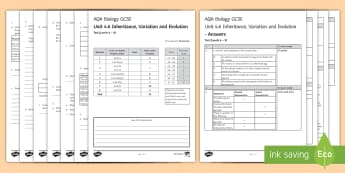 AQA Biology (Trilogy) Unit 4.6 Inheritance, Variation and Evolution Test - KS4 Assessment, Test. inheritance, variation, chromosomes, Mendel,  fossils, genetic diagrams