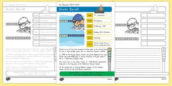Australian Rio Olympian Bronte Barratt Handwriting Practice Activity Sheets-Australia, worksheet