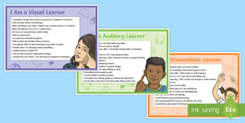 KS2 VAK Learning Styles Display Posters - kinaesthetic, visual, auditory, vak learners, vak