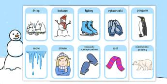 Karty z zimowym słownictwem - zima, zimowy, pory, pora, roku, zimno, śnieg, lód, pingwin, pingwiny, niedźwiedź, polarny, polar