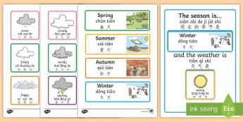 Weather And Season Display Calendar English/Mandarin Chinese/Pinyin - Weather And Season Calendar - season, weather, calendar, spring, summer, autumn, winter, rainy, sunn