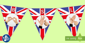 British Sign Language (BSL) Union Jack Flag Photo Display Bunting - photo bsl, british sign language photo, photo bunting, photo fingerspelling