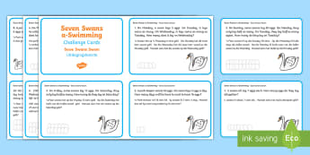 Seven Swans Swimming Challenge Cards English/Afrikaans - Math, numbers, birds, numeracy, wiskunde, nommers, EAL