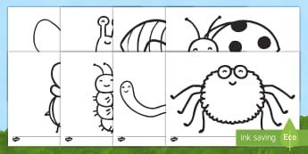 Hojas de colorear: Los bichos Hojas de colorear - libélula, abeja, caracol, hormiga, típula, escarabajo, mariposa, oruga, gusano, mariquita, cochini