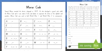 Wartime Morse Code Worksheet / Activity Sheet - New Zealand, Anzac Day, 25 April, ANZAC, Poppies, World War 1, World War 2, worksheet, Gallipoli, Mo