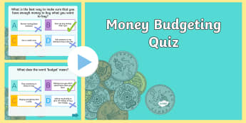 Money Budgeting Quiz Plenary PowerPoint