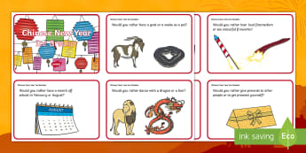 KS1 Chinese New Year Ice Breaker Cards - Chinese New Year, China, Ice Breaker, Opinion, Discussion, Would You Rather, Reasoning, Ideas, Morni