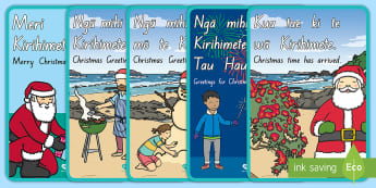 Māori Christmas Greetings Display Posters - Māori, Greetings, Christmas, Xmas, Te Reo, december,