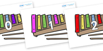 Numbers 0-31 on Glockenspiels - 0-31, foundation stage numeracy, Number recognition, Number flashcards, counting, number frieze, Display numbers, number posters