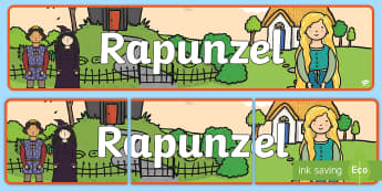 Rapunzel Display Banner (Outdoor) - Rapunzel, prince, witch, tower, long hair, fairytale, traditional tale, Brothers Grimm, tower, woods, forest, prince, let down your hair, story, story sequencing, banner, display