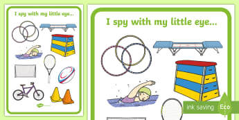Sport Themed I Spy Display Poster - pancake day, shrove tuesday, spot the object, see, spy, Eye spy, i spy