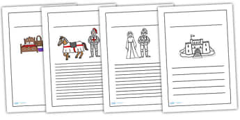 Castles and Knights Writing Frame -  knight, write, template