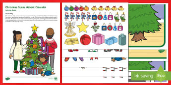 Christmas Scene Advent Calendar Poster and Resource Pack - EYFS, Early Years, KS1, Key Stage 1, Christmas, Xmas, Christian, Festival, Celebration, Advent Calen