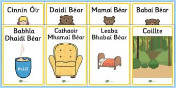Goldilocks and The Three Bears Display Posters Gaeilge - display, posters, goldilocks, cinnin óir agus na trí bhéar, irish display, gaeilge