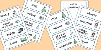 În laborator - Cartonașe cu imagini și cuvinte - în laborator, joc, cartonașe, imagini, cuvinte, științe, vocabular, materiale didactice, română, romana, material, material didactic