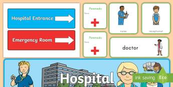 Hospital Role-Play Pack - hospital, role-play, pack, pretend, nurse, doctor, paramedic, community, people who help us, classro