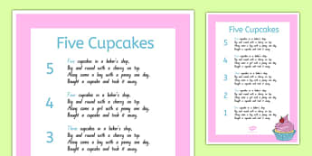 Five Cupcakes Nursery Rhyme Poster - nz, new zealand, five cupcakes, nursery rhyme, poster, display