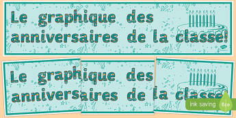 Le graphique des anniversaires de la classe! - french, birthday, graph, display banner, display, banner