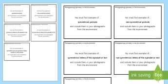 Photographing Symmetry in the Environment Challenge Cards - maths, symmetry, shape and space, decimals, challenge cards, task cards, photograph, camera, iPad, e