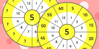 5 Times Table Wheel Cut Outs - visual aid, maths, numeracy