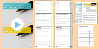 Multiplying and Dividing Fractions Lesson Pack - KS3, KS4, Numerator, Denominator, Multiplication, Division, Multiply, Divide, Times, Different, Mixe