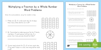Multiplying Fractions by Whole Numbers Word Problems with Models Activity Sheet - multiplication, repeated addition, fractions, whole numbers, models, improper fractions, mixed numbe