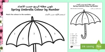 Spring Umbrella Colour by Number Arabic/English  - Spring UK, flowers, tulip, flowers, EAL,Arabic-translation