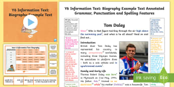 Y6 Information Texts: Biography Model/Example Text - genre, WAGOLL, exemplar, non-fiction, text, text features, SPaG, GPS, example, exemplifications, por, ARE, age-related example, model, model text, age-related model