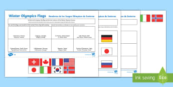 Winter Olympics Host Nation Flags Activity Sheet English/Spanish - EAL,Y3, Y4, Y5, Y6, map, atlas, worksheet, world, countries, cities, ,Spanish-translation