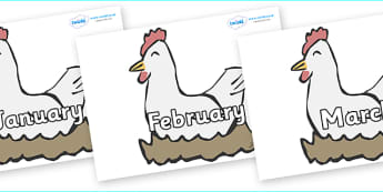 Months of the Year on Hens - Months of the Year, Months poster, Months display, display, poster, frieze, Months, month, January, February, March, April, May, June, July, August, September