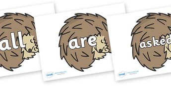 Tricky Words on Hedgehogs - Tricky words, DfES Letters and Sounds, Letters and sounds, display, words
