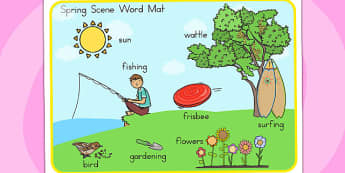 Spring Scene Word Mat - seasons, weather, visual aid, keywords