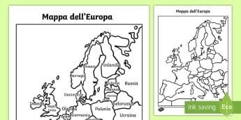 Mappa dell'Europa con e senza Nomi Poster - mappa, dell, europa, europeo, politica, fisica, italiano, italian, geografia, nazioni, capitali, mat
