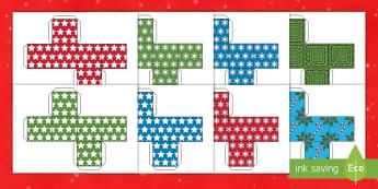 Christmas Gift Boxes Cube Net English/Portuguese - Christmas Gift Boxes Cube Shape Net - christmas, christmas themed, gift boxes, christmas activities,