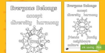 Everyone Belongs Words Colouring Page - Harmony Day - Australia 21st March,Australia, harmony, accept, diversity,