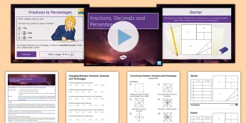 Fractions Lesson 5: Fractions, Decimals and Percentages - FDP, convert, terminating, place value, fractions, decimals, percentages, powers of 10