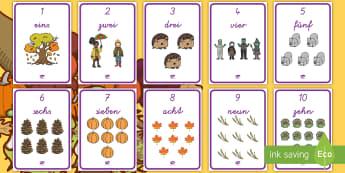 Herbstliche Zahlen 1-10 Poster für die Klassenraumgestaltung  - Herbst, Herbstblätter, Zahlen, 1-10, Zahlen Vokabeln, schreiben lernen, zählen, zählen lernen,Ger