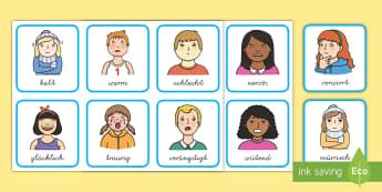 Gefühle und Emotionen Wortschatz: Wort- und Bildkarten - Gefühle und Emotionen, Gefühle, Emotionen, DaF, DaZ, DaF und DaZ, Gefühle Wortkarten, Gefühle Bi