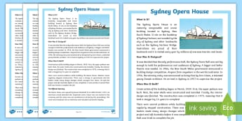 Sydney Opera House Upper Primary Differentiated Reading Comprehension Activity - Guided Reading, reading strategies, reading groups, australian landmark, australian geography,Austra