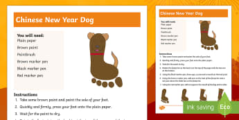 Year of the Dog Footprint Craft Instructions - CNY, chinese new year, art, printing, foot, feet, dogs, painting