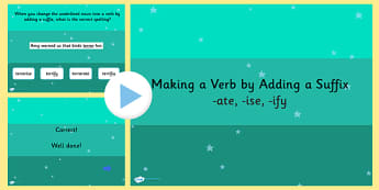 Making a Verb by Adding the Suffix to an Adjective SPaG