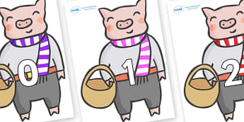 Numbers 0-31 on Little Piggy - 0-31, foundation stage numeracy, Number recognition, Number flashcards, counting, number frieze, Display numbers, number posters